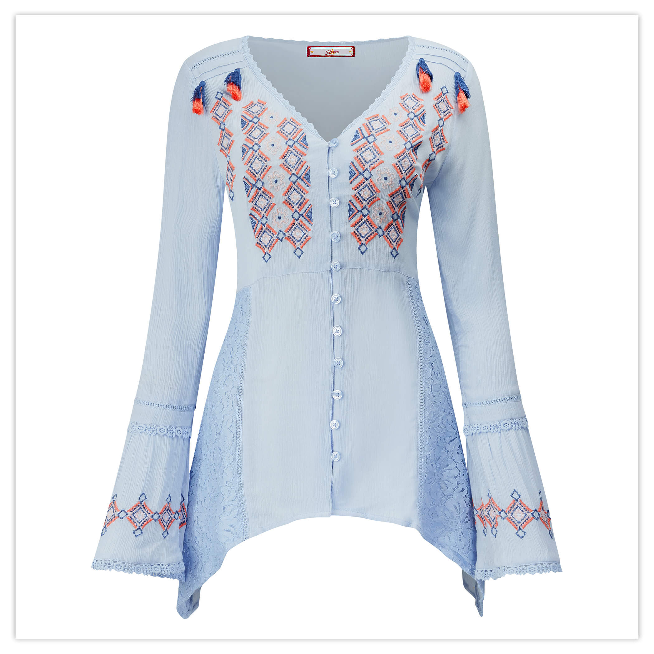 Crinkle Embroidered Blouse