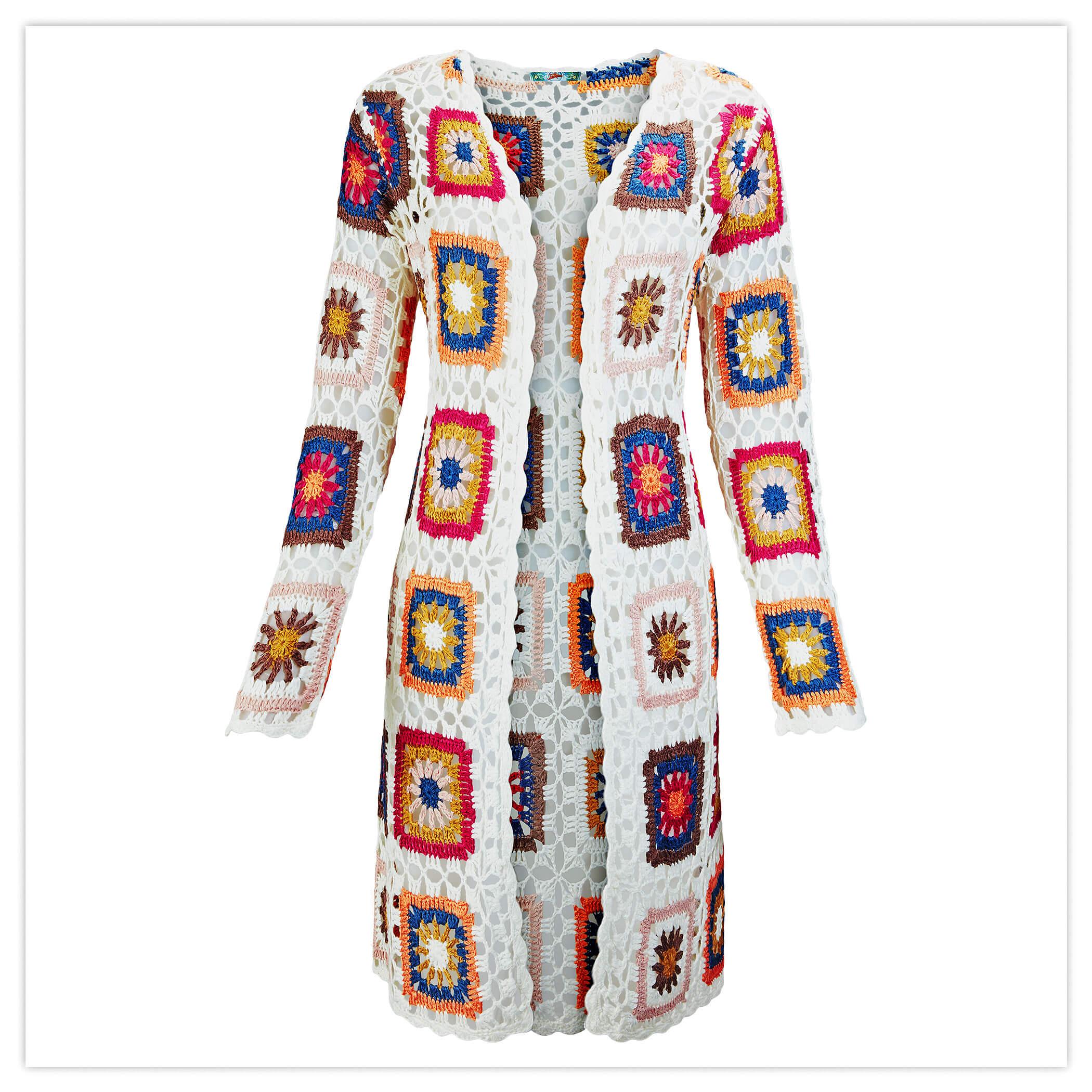Quirly Crochet Longline Cardigan
