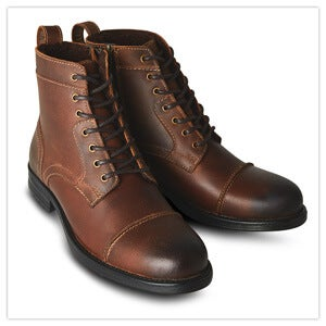 Joe Browns Oiled Top Stitch Boots in Brown