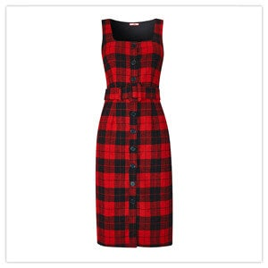 Joe Browns Check Pinafore Dress in Red and Black