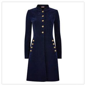Joe Browns Virtuous Velvet Coat in Navy