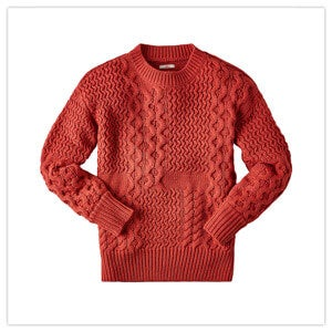 Joe Browns Women's Crew Neck Cable Jumper in Coral