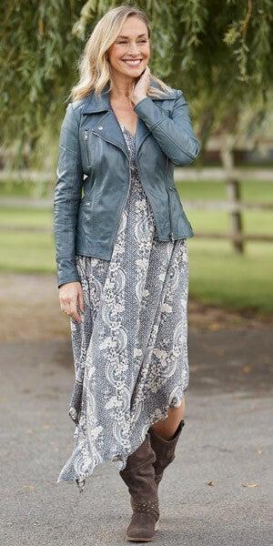 Joe Browns Dippy Hem Dress with Leather Jacket