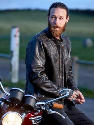 Joe Browns Men's Green Leather Biker Jacket