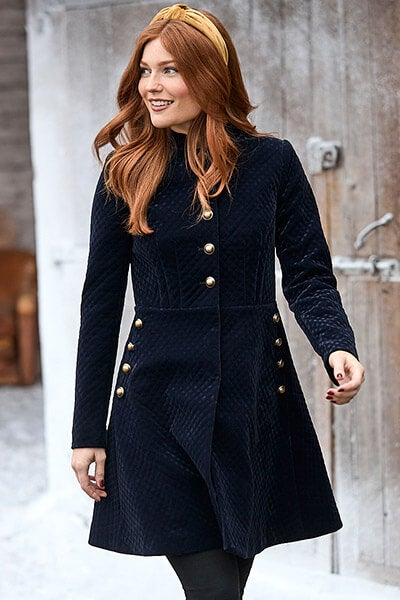 Joe Browns Women's Navy Velvet Coat