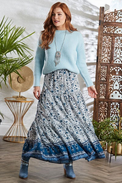 Joe Browns Cosy Blue Jumper with Maxi Skirt