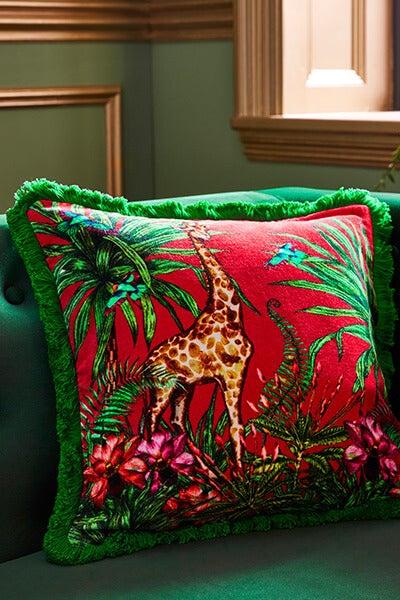 Opulent Safari Tropical Print Cushion