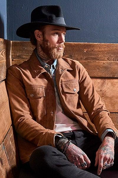 Joe Browns Men's Suede Leather Jacket in Tan