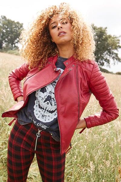 Joe Browns Women's Red Leather Biker Jacket