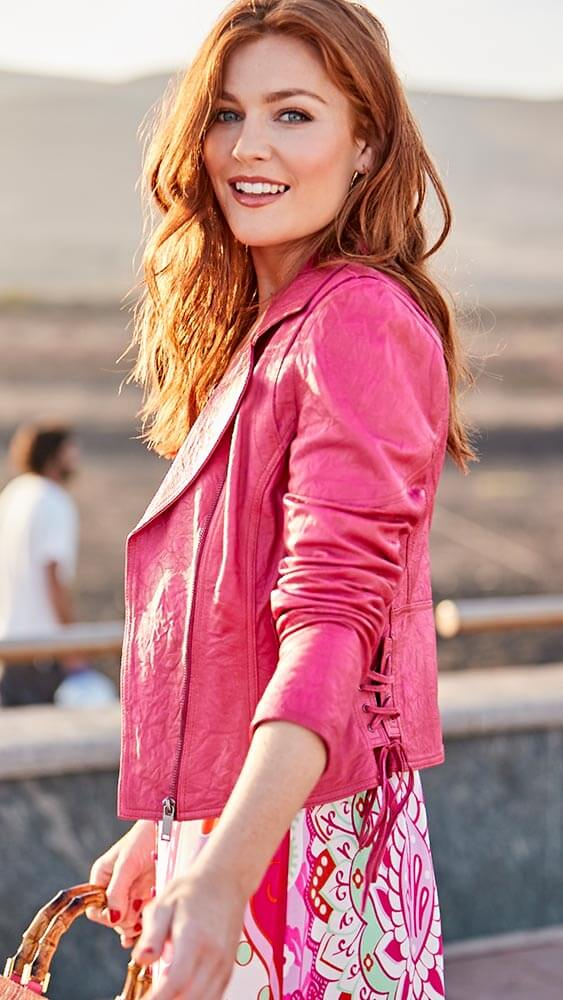 Joe Browns Funky Women's Leather Jacket in Pink