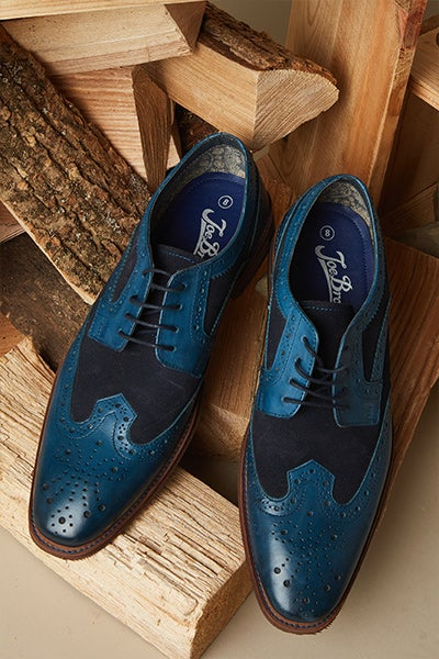 Shelby Blue Leather Brogues