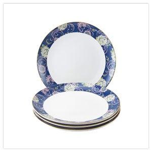 Fabulous Floral Set of 4 Dinner Plates