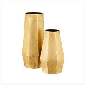 Set of 2 Gold Vases