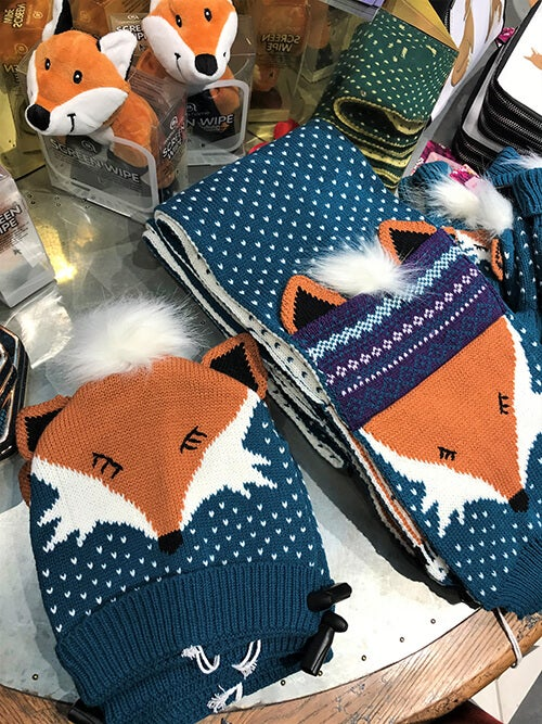Quirky Mr Fox Knitted Hat £18, Quirky Mr Fox Scarf £27, Fox Screen Wipe £12.