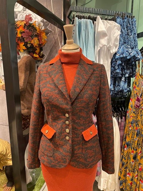 Animal Jacquard Jacket (was £70, NOW £45) and Fabulous Ribbed Knitted Dress (was £45, NOW £29).
