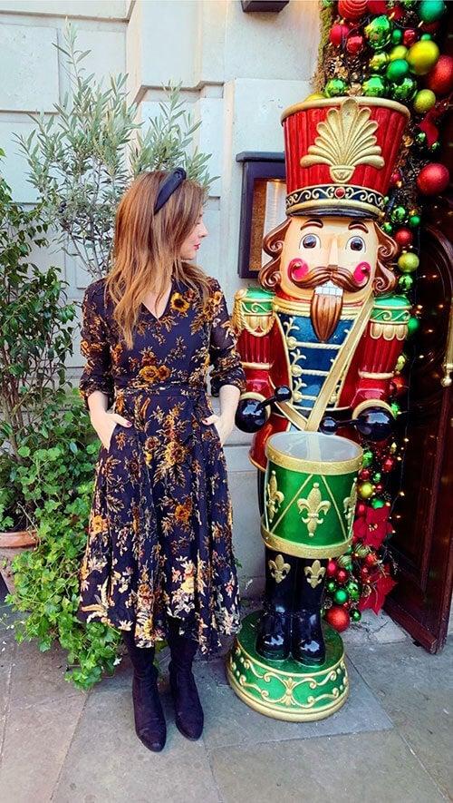 Lou in the Elegant Devore Dress 2