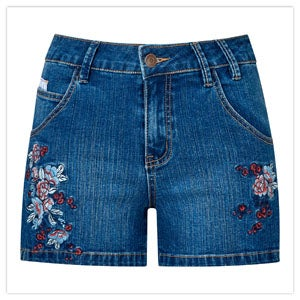 Side Lace Denim Shorts