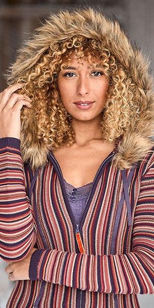 Funky Faux Fur Hooded Knit