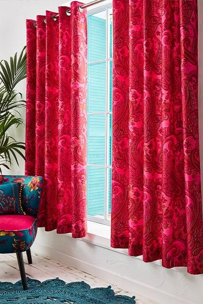 Fuchsia Paisley Curtains
