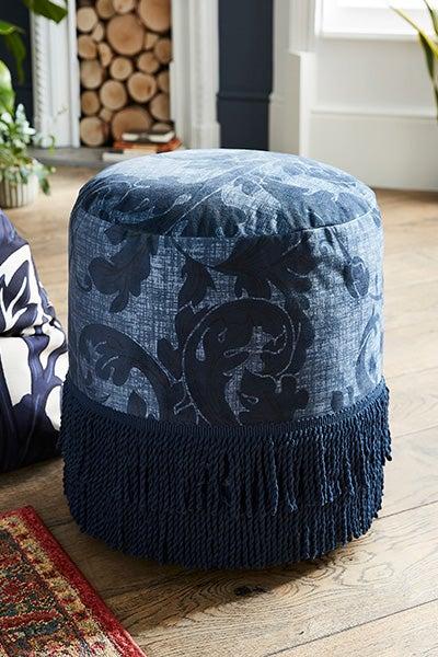 Heritage Fringed Velvet Footstool
