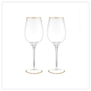 Set Of 2 Deco Wine Glasses