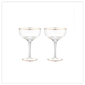 Set Of 2 Deco Champagne Glasses