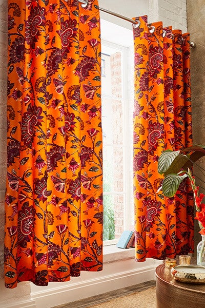 African Floral Eyelet Curtains